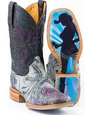 Tin Haul Womens Dont Bring Your Guns & Roses Cowgirl Boots - Square Toe