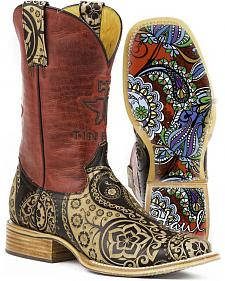 Tin Haul Women's Artful Paisley Cowgirl Boots - Square Toe