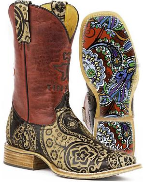 Tin Haul Womens Artful Paisley Cowgirl Boots - Square Toe