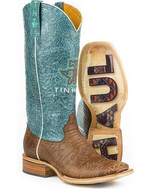 Tin Haul Womens Aztec Print Native Cowgirl Boots - Square Toe