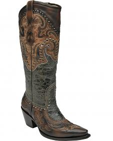 Corral Women's Black Antique Saddle Cowgirl Boots - Snip Toe