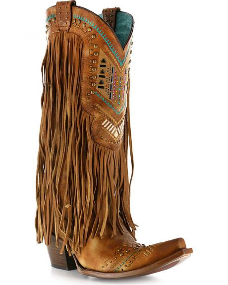 Corral Women's Aztec & Fringe Cowgirl Boots - Snip Toe