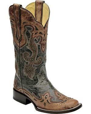 Corral Womens Black Antique Saddle Cowgirl Boots - Square Toe