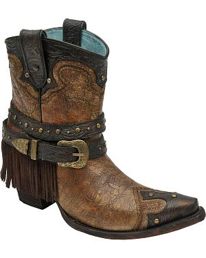 Corral Womens Bronze Fringe Studded Ankle Boots - Snip Toe