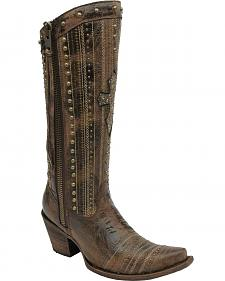 Corral Women's Brown Crystal Cross Stripes & Studs Tall Boots - Snip Toe