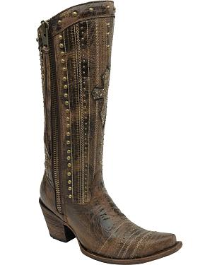 Corral Womens Brown Crystal Cross Stripes & Studs Tall Boots - Snip Toe