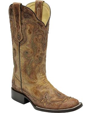 Corral Womens Cognac Antique Saddle Cowgirl Boots - Square Toe