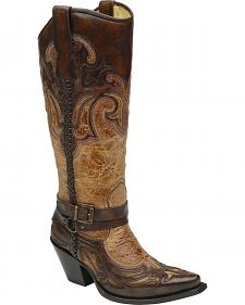 Corral Women's Cognac Antique Saddle Harness Boots - Snip Toe
