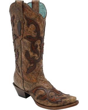 Corral Womens Brown Patch Tall Cowgirl Boots - Snip Toe