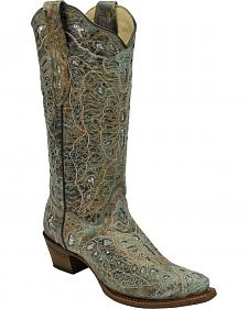 Corral Women's Metallic Bronze Glitter Butterfly Tall Cowgirl Boots - Square Toe