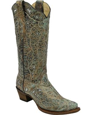 Corral Womens Metallic Bronze Glitter Butterfly Tall Cowgirl Boots - Square Toe