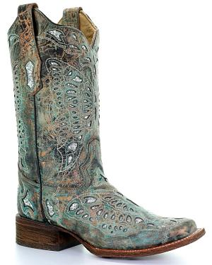 Corral Womens Metallic Bronze Glitter Butterfly Cowgirl Boots - Square Toe