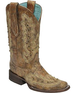 Corral Womens Metallic Cognac Stitching & Studs Cowgirl Boots - Square Toe