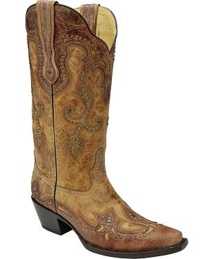 Corral Womens Cognac Antique Saddle Cowgirl Boots - Snip Toe