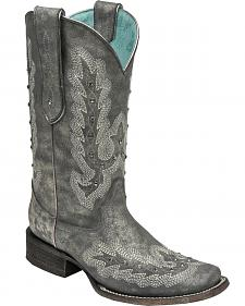 Corral Women's Metallic Silver Stitching & Studs Cowgirl Boots - Square Toe
