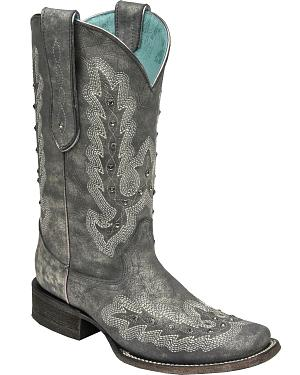 Corral Womens Metallic Silver Stitching & Studs Cowgirl Boots - Square Toe