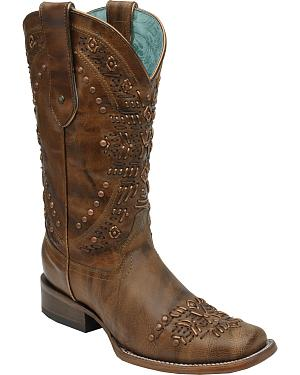 Corral Womens Brown Studded Cowgirl Boots - Square Toe