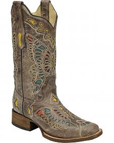 Corral Women's Taupe Butterfly Cowgirl Boots - Square Toe