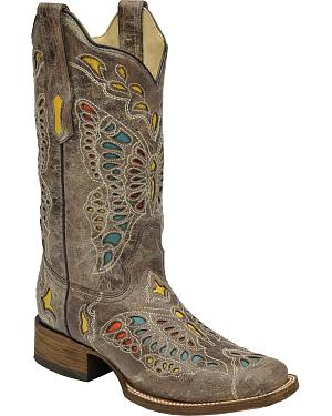 Corral Womens Taupe Butterfly Cowgirl Boots - Square Toe