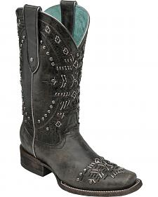Corral Women's Black Studded Cowgirl Boots - Square Toe