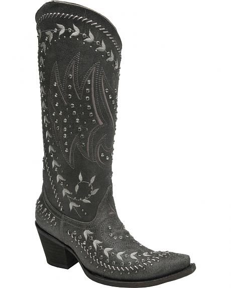 Corral Women's Black Leather Gray Embroidery Tall Boots - Snip Toe