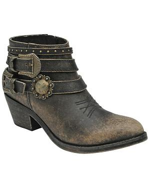 Corral Womens Distressed Black Buckle Strap Ankle Boots