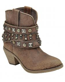 Corral Women's Distressed Cognac Studded Ankle Boots