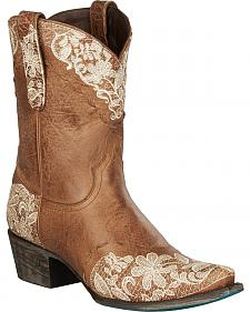Lane Boots Jeni Lace Embroidered Shortie Cowgirl Boots - Snip Toe