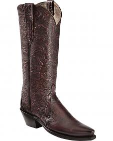Lucchese Handcrafted Embossed Black Cherry Cowgirl Boots - Sheplers Exclusive