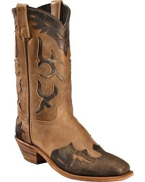 Abilene Boots Womens Distressed Inlay Wingtip Western Boots - Square Toe