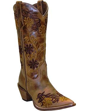 Rawhide by Abilene Boots Womens Brown Floral Cowgirl Boots - Pointed Toe