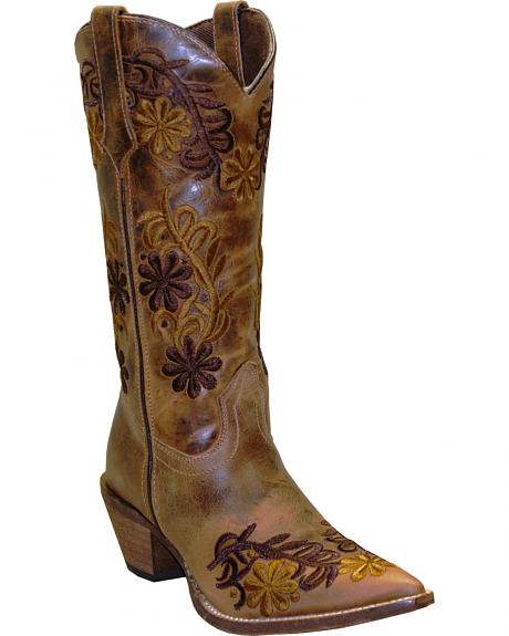 Rawhide by Abilene Boots Women's Brown Floral Cowgirl Boots - Pointed Toe