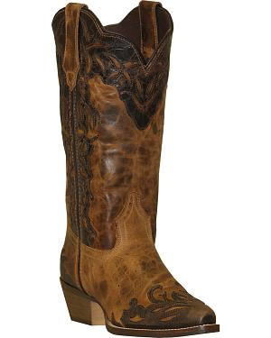 Rawhide by Abilene Boots Womens Two-Tone Wingtip Cowgirl Boots - Snip Toe