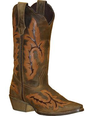 Rawhide by Abilene Boots Womens Cutout Inlay Cowgirl Boots - Snip Toe