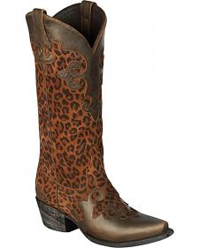 Lane Dawson Classic Cheetah Cowgirl Boots - Snip Toe