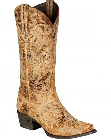 Lane Wild Ginger Waxed Cowgirl Boots - Snip Toe