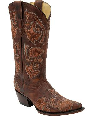 Corral Womens Brown Floral Cowgirl Boots - Snip Toe