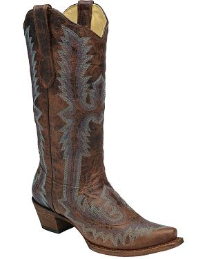 Corral Womens Full Stitch Cowgirl Boots - Snip Toe