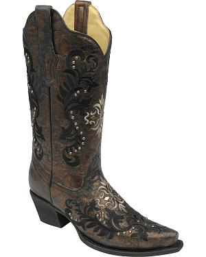Corral Womens Studded Embroidery Cowgirl Boots - Snip Toe