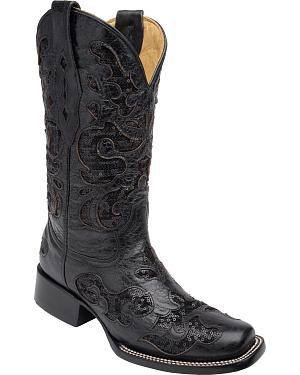 Corral Womens Sequin Inlay Cowgirl Boots - Square Toe
