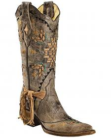 Corral Women's Cango Tobacco Laser Woven Cowgirl Boots - Snip Toe