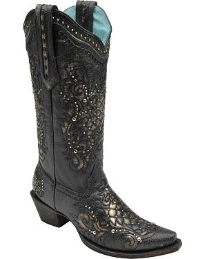 Corral Womens Studded Lace Cowgirl Boots - Snip Toe