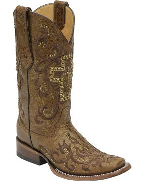 Corral Womens Gold Studded Cross Cowgirl Boots - Square Toe