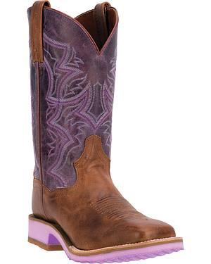 Dan Post Serrano Purple Diamond Pro Cowgirl Boots - Square Toe