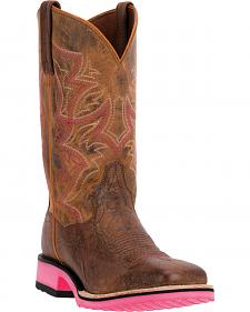 Dan Post Serrano Pink Diamond Pro Cowgirl Boots - Square Toe