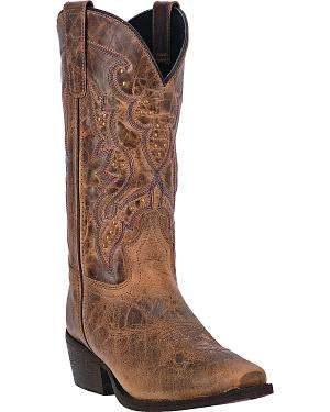 Laredo Womens Cassie Studded Cowgirl Boots - Square Toe