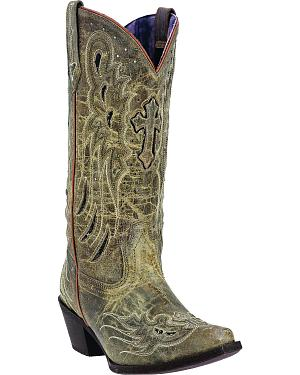 Laredo Womens Crosswing Studded Cowgirl Boots - Snip Toe