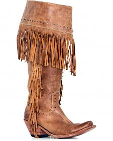 Liberty Black Women's American Tan Fringe Boots - Square Toe