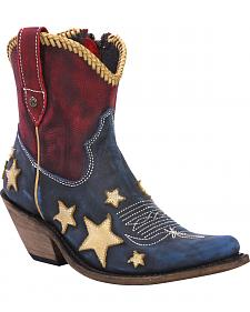 Liberty Black Women's Americana Vintage Flag Boots - Snip Toe