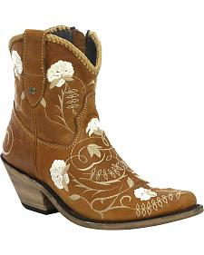 Liberty Black Floral Brown Shorty Cowgirl Boots - Round Toe